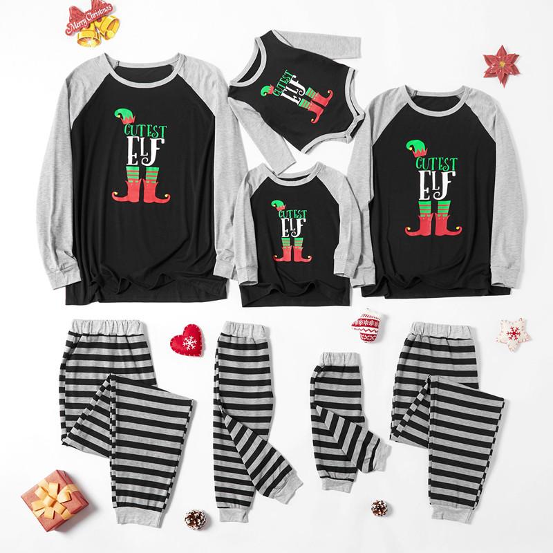 Christmas Family Matching Pajamas Christmas EFL Slogan Top and Grey Stripes Pant