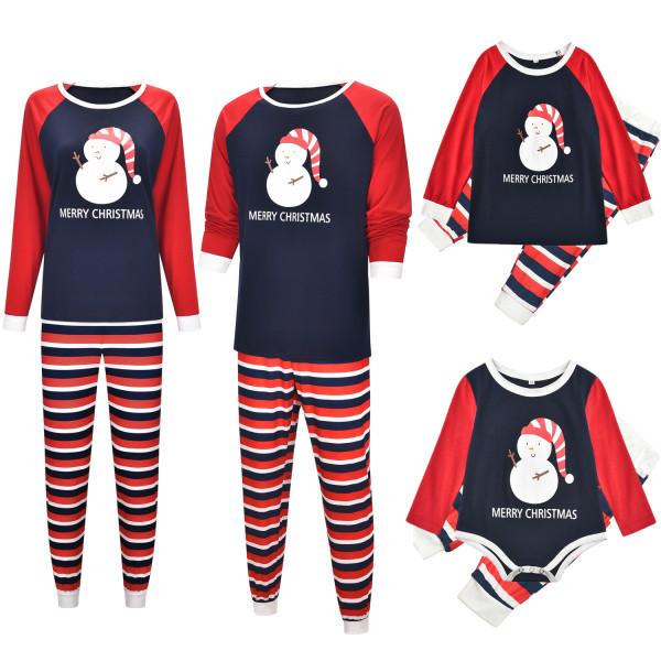 Christmas Family Matching Pajamas Sleepwear Sets Christmas Snow Man Top and Stripes Pants