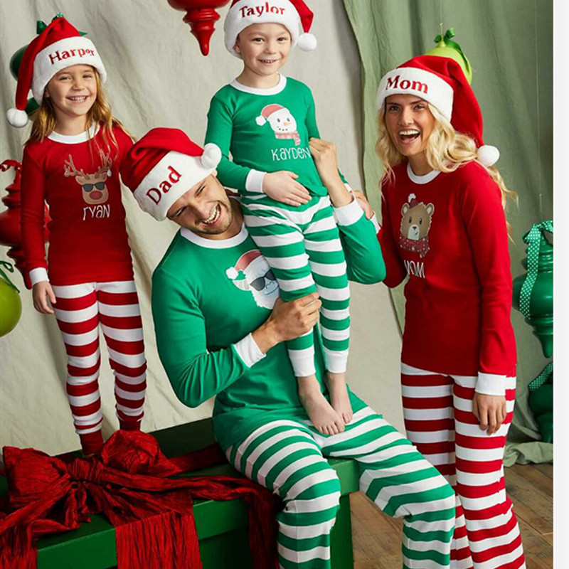 Christmas Family Matching Pajamas Sleepwear Sets Christmas Snow Man Top and Stripes Pants