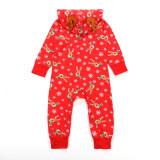 Christmas Family Matching Pajamas Sleepwear Sets Christmas Red Deers Snowflakes Hooded Jumpsuits