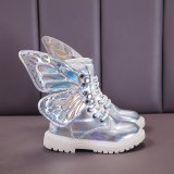 Kid Girl PU Leather Lace Up Martin  Boots With Butterfly Wings