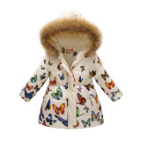 Toddler Kids Girl Butterfly Cotton Padded Thicken Warm Fur Hooded Long Outerwear Coats