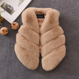 Toddler Kids Girl Plush Faux Fur Green Stitching Thick Warm Vest Coats Outerwears