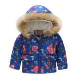 Toddler Kids Girl Flowers Cotton Padded Thicken Warm Fur Hooded Outerwear Coats