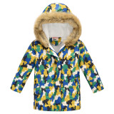 Toddler Kids Boy Camouflage Cotton Padded Thicken Warm Fur Hooded Long Outerwear Coats