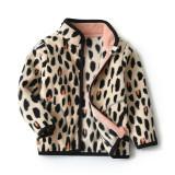 Toddler Kids Girl Polar Fleece Leopard Print  Zipper Jacket Outerwear Coats