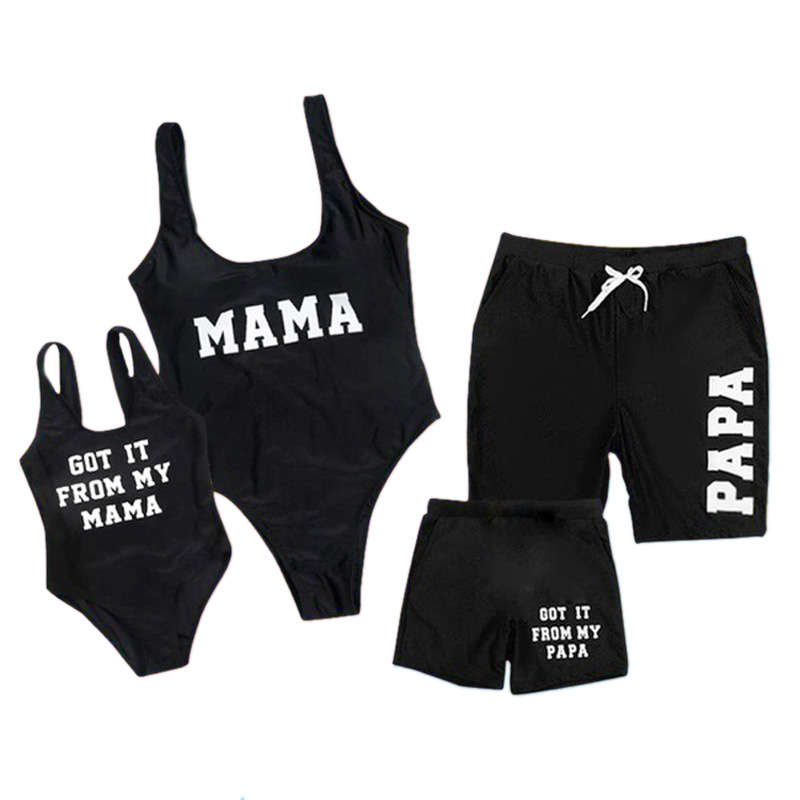 Family Matching Swimwear MAMA PAPA Slogan Black Swimsuit and Truck Shorts