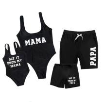 Family Matching Swimwear MAMA PAPA Slogan Black Swimsuit and Truck Shorts