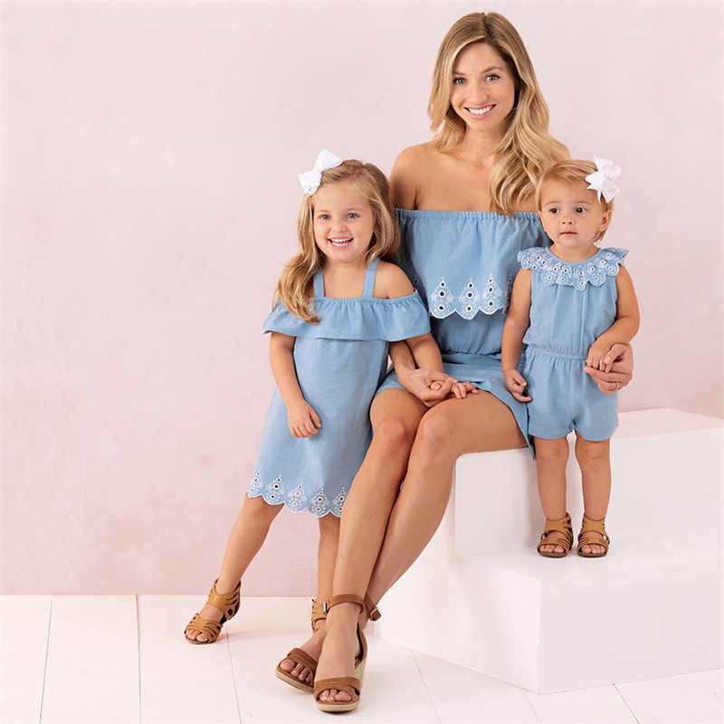 Mommy and Me Matching Blue Denim Embroidered Jumpsuit Romper
