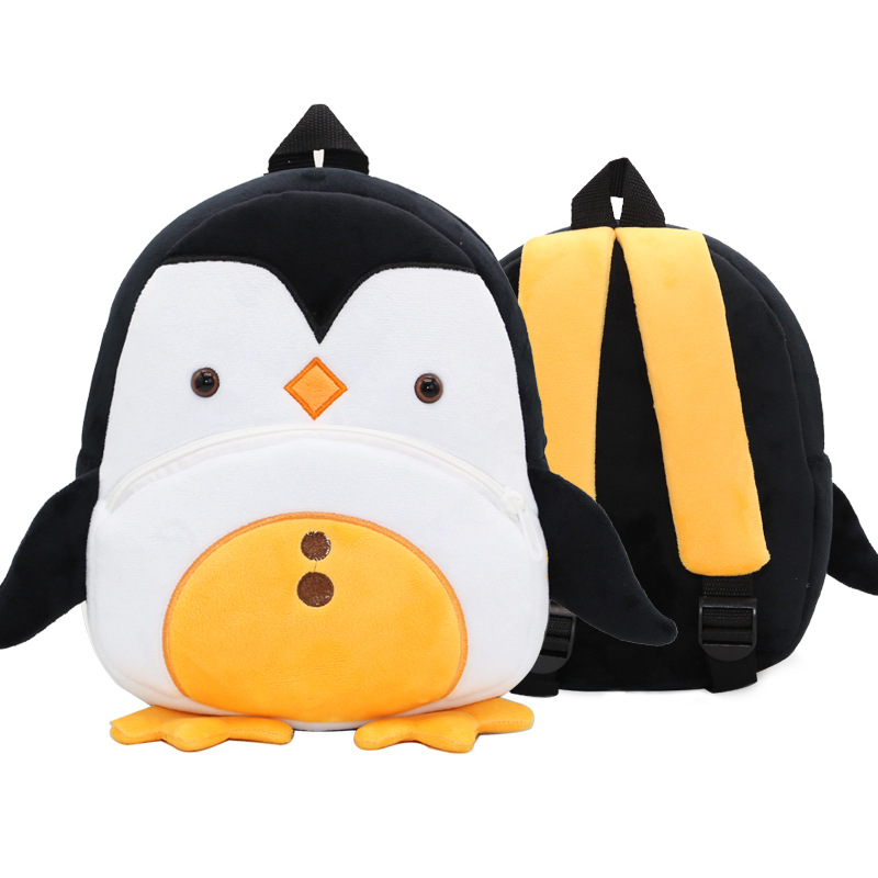Kindergarten School Backpack Black Penguin Animal School Bag For Toddlers Kids