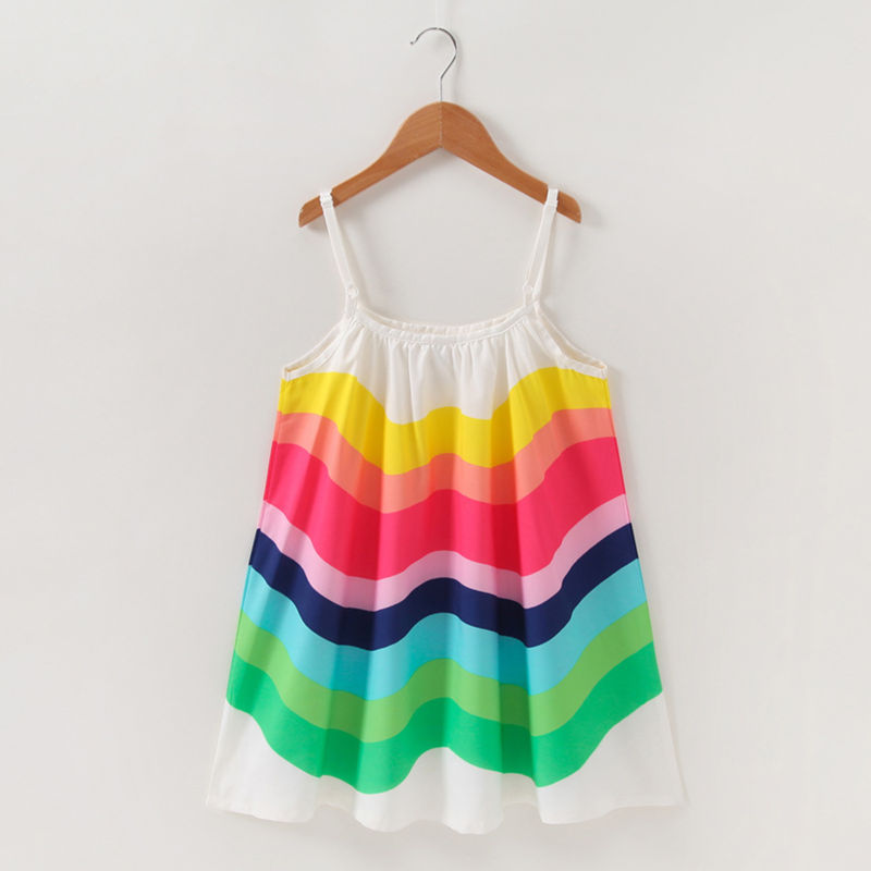 Toddler Girls Rainbow Chiffon Summer Slip Dress