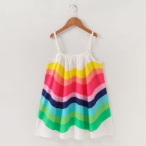 Toddler Girls Rainbow Chiffon Summer Slip Dress
