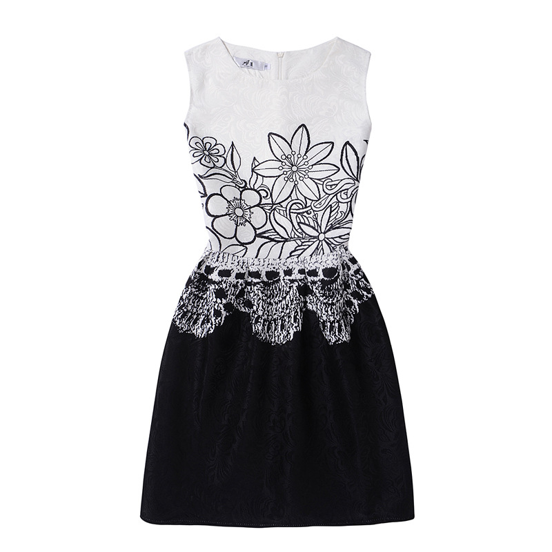 Mommy and Me Print Black Flowers Sleeveless Dresses