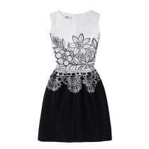 Mommy and Me Print Black Flowers Sleeveless Dresses