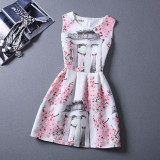 Mommy and Me Print Flowers A-line Sleeveless Dresses