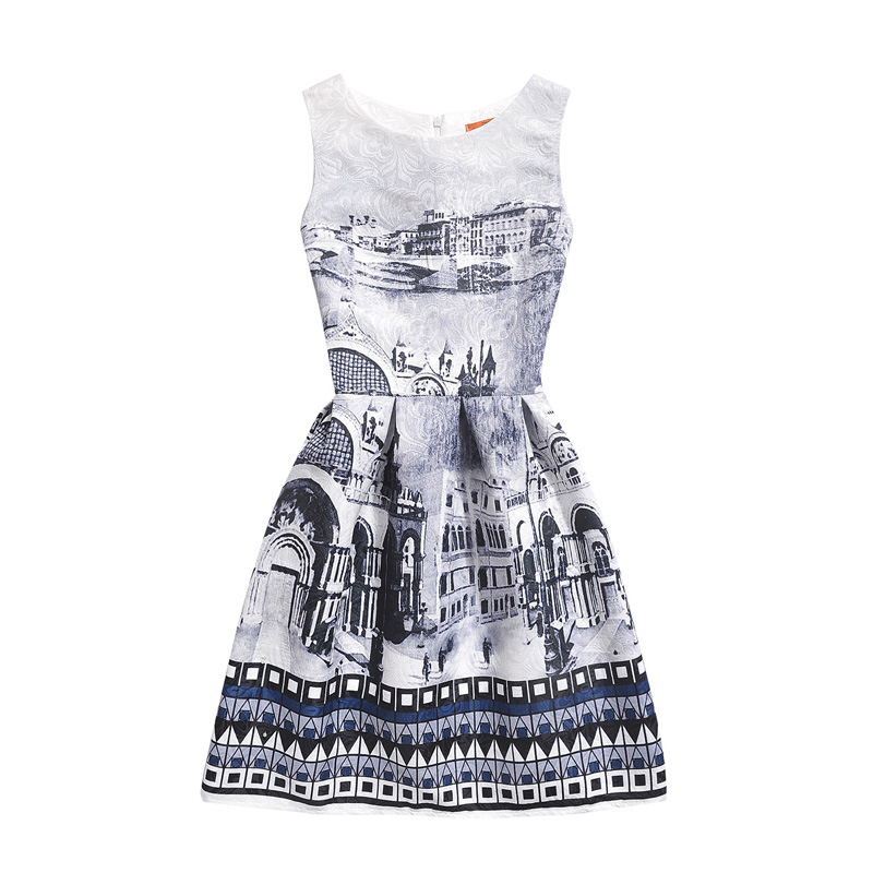 Mommy and Me Print Grey Castle Geometric Figure Sleeveless Dresses