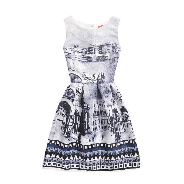 Mommy and Me Print Grey Castle Geometric Figure Sleeveless Dresses