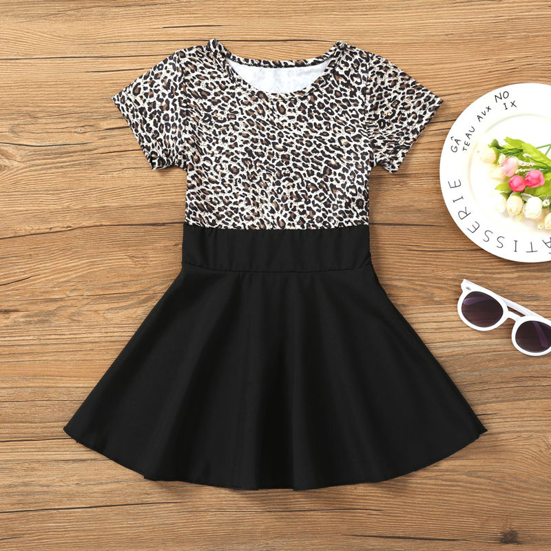 Girls Fashion Leopard Prints Short Sleeves A-line Skater Dress