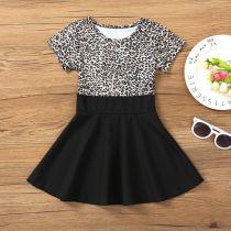 Girls Fashion Leopard Prints Short Sleeves A-line Skater Dress