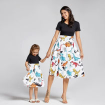 Mommy and Me Matching Prints Dinosaurs A-line Skater Dress