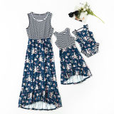 Mommy and Me Matching Stripes Flowers Maxi Summer Dress