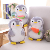 Grey Fruits Penguin Soft Stuffed Plush Animal Doll for Kids Gift