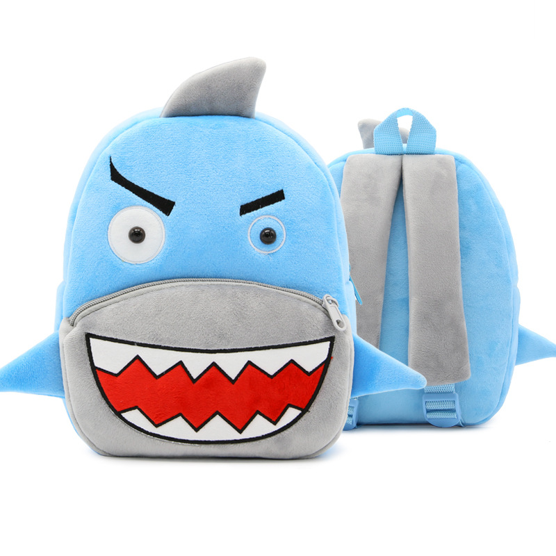 Kindergarten School Backpack Blue Shark Animal School Bag For Toddlers Kids