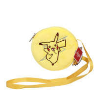 Yellow Pikachu Pokemon Plush Circle Crossbody Shoulder Bags for Toddlers Kids