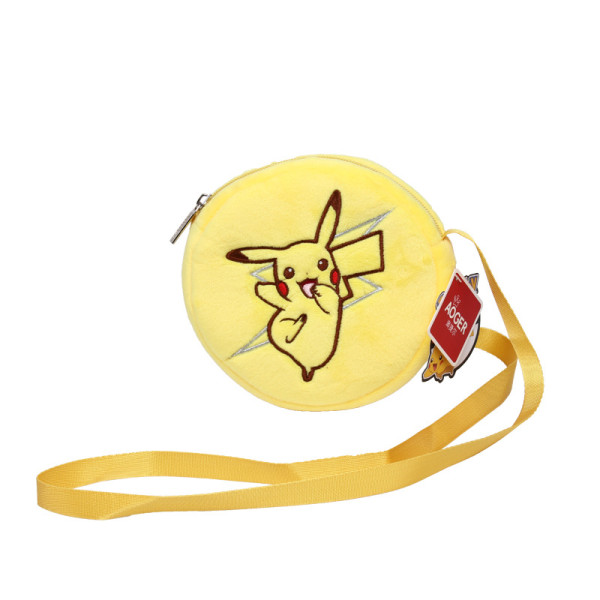 Yellow Pikachu Pokemon Plush Circle Crossbody Shoulder Bags for Toddlers Kids