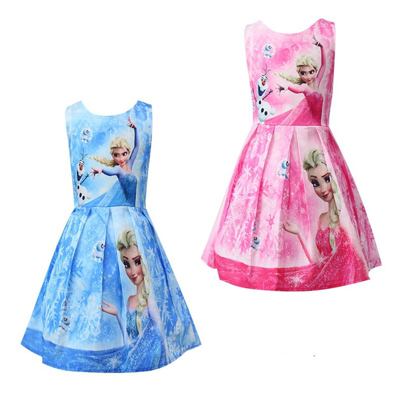 Girls Print Frozen Princess Short Sleeves A-line Skater Dress