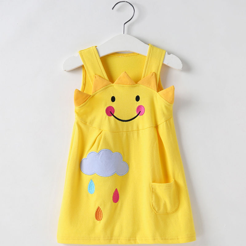 Baby Toddler Girls Yellow Sun Cloud Summer T-shirt Casual Dress
