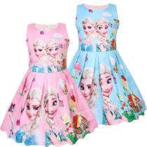 Girls Print Frozen Princess Flowers Short Sleeves A-line Skater Dress