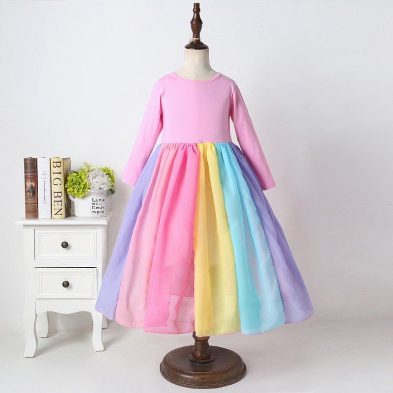 Girls Rainbow Matching Color Long Sleeves Maxi Dress