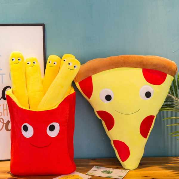 French Fries Pizza Soft Stuffed Plush Food Doll for Kids Gift
