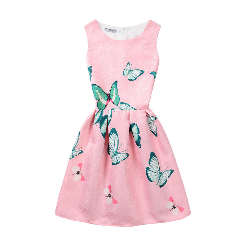 Mommy and Me Print Butterflies Sleeveless Dresses