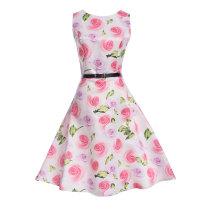 Mommy and Me Print Flowers Sleeveless A-line Dresses
