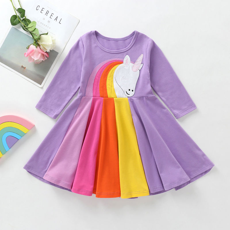 Toddler Girls Colorful Unicorn Long Sleeves A-line Skater Dress