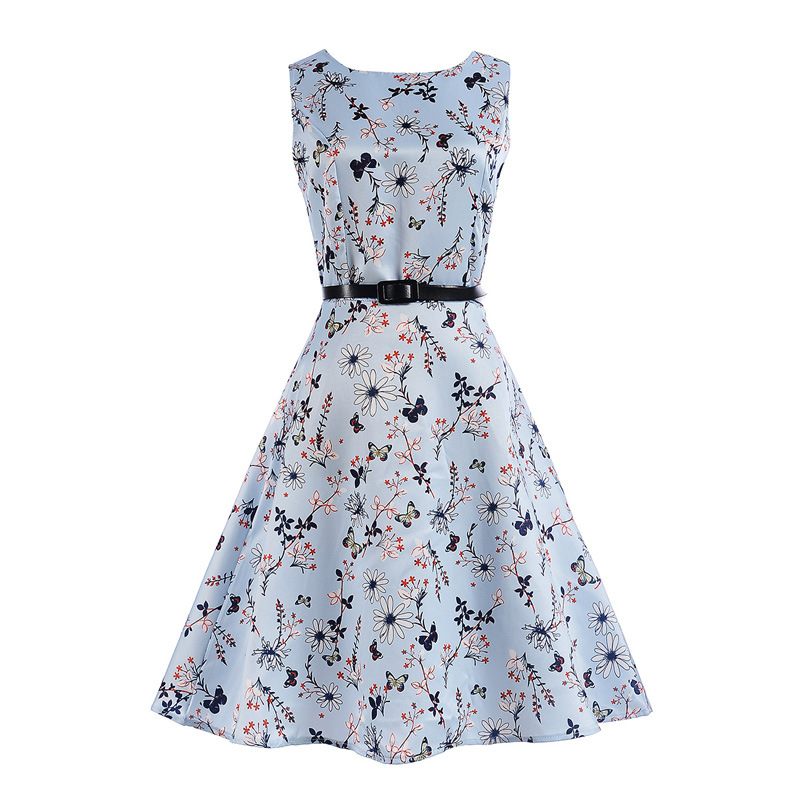 Mommy and Me Print Flowers Butterflies Sleeveless A-line Dresses