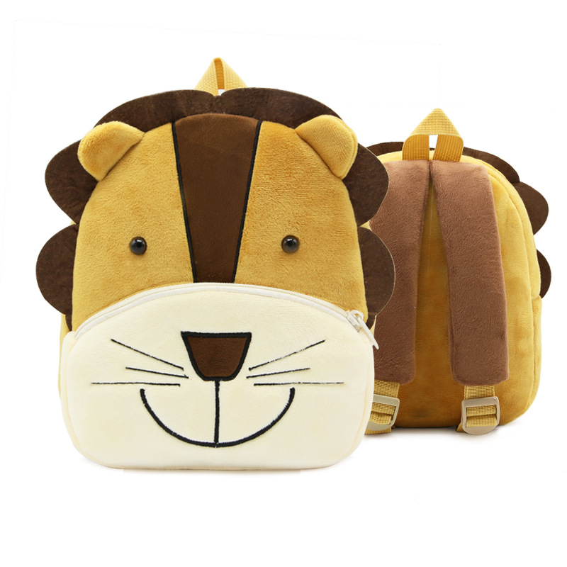 Kindergarten School Backpack Brown Lion Animal School Bag For Toddlers Kids