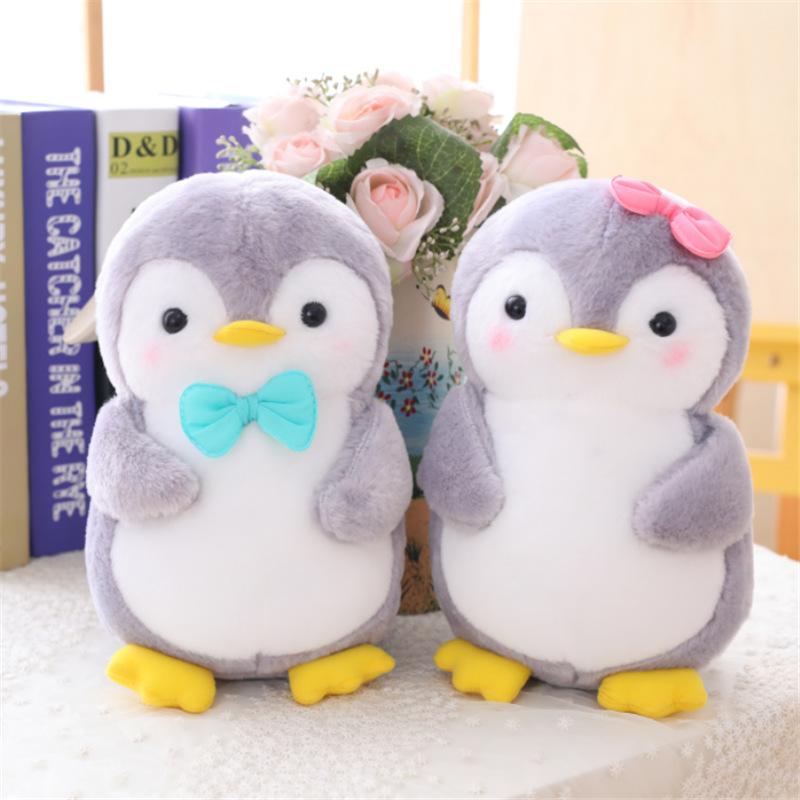 Grey Bowknot Penguin Soft Stuffed Plush Animal Doll for Kids Gift
