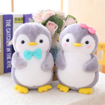 Grey Bowknot Penguin Soft Stuffed Plush Animal Doll for Kids Gift