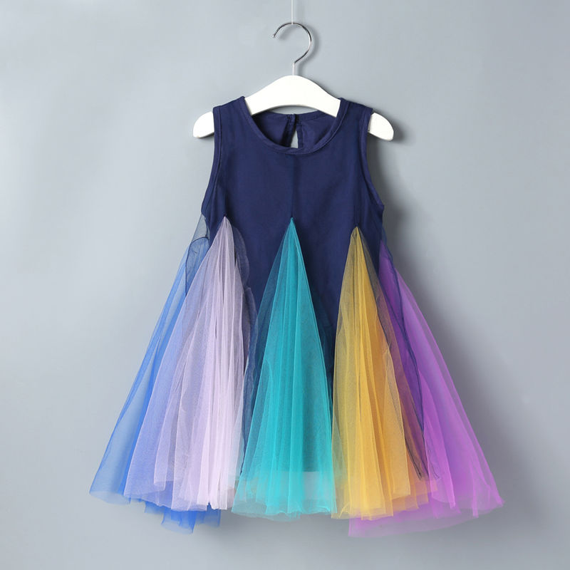 Girls Colorful Rainbow Tutu A-line Skater Dress