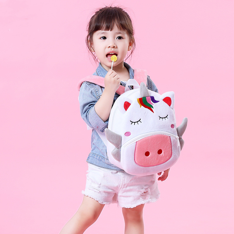 Kindergarten School Backpack White Unicorn Animal School Bag For Toddlers Kids