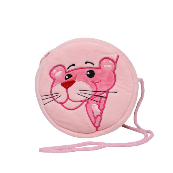 Pink Panther Plush Circle Crossbody Shoulder Bags for Toddlers Kids