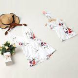 Mommy and Me Matching Flowers Lace Slips Backless Jumpsuit Romper
