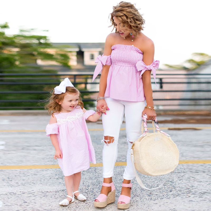 Mommy and Me Matching Pink Stripes Off The Shoulder Women Blouse And Girl Dress