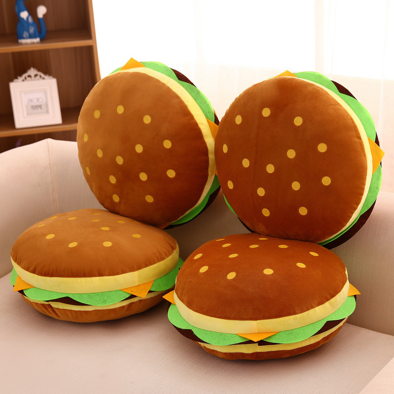 Brown Hamburger Soft Stuffed Plush Food Doll for Kids Gift