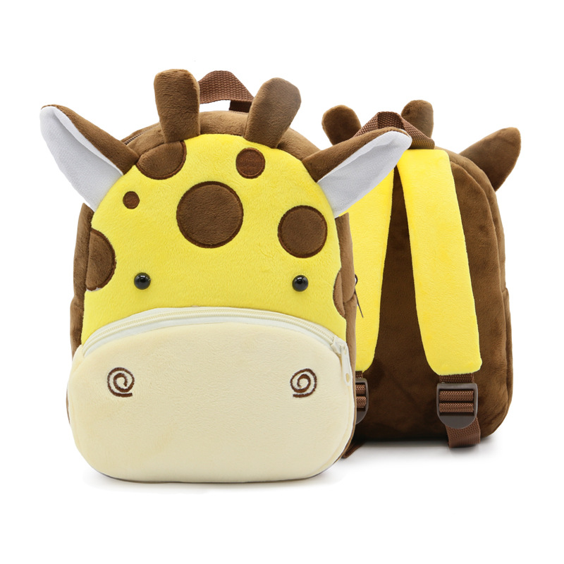 Kindergarten School Backpack Brown Giraffe Animal School Bag For Toddlers Kids