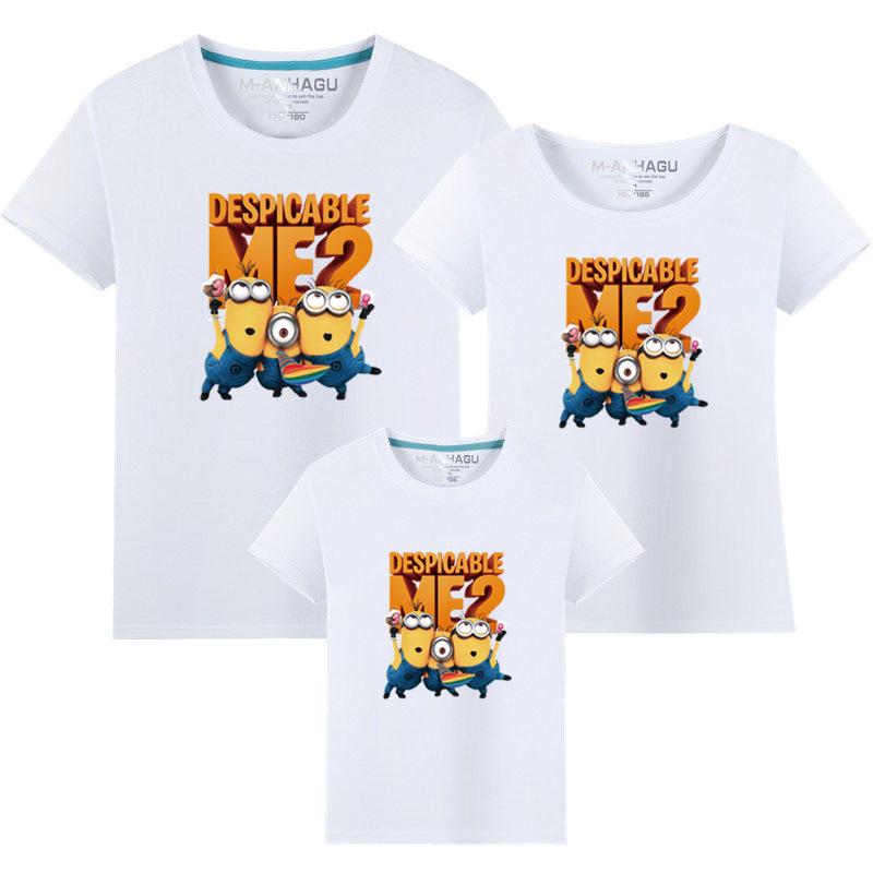 Matching Family Prints Happy Slogan Minions Famliy T-shirts Top