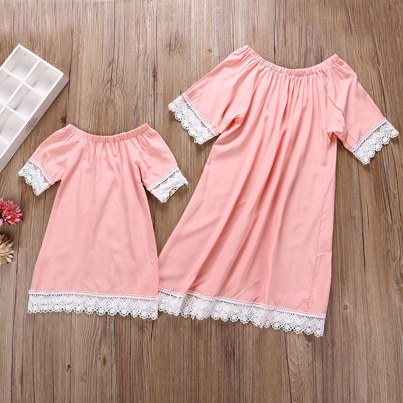 Mommy and Me Matching Pink Off The Shoulder Lace Dress